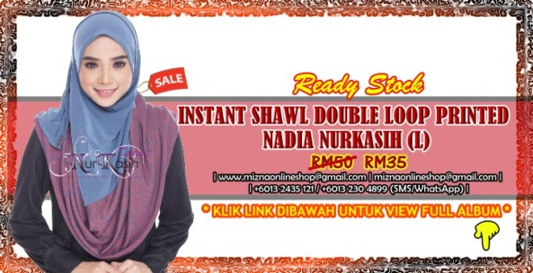 [CLEARANCE] INSTANT SHAWL DOUBLE LOOP PRINTED NADIA NURKASIH (L)