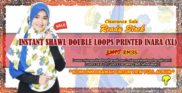 [CLEARANCE] INSTANT SHAWL DOUBLE LOOP PRINTED INARA (XL)