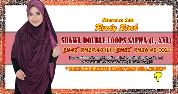 [CLEARANCE] INSTANT SHAWL DOUBLE LOOP SAFWA (XXL)
