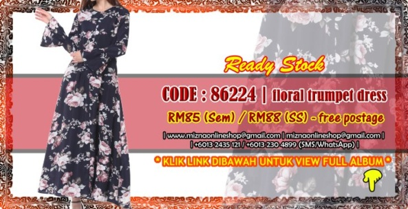 [READY STOCK] 86224 – FLORAL TRUMPET DRESS