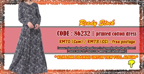 [READY STOCK] 86232 – PRINTED COTTON DRESS