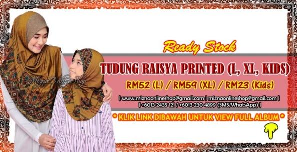 [RS-2] TUDUNG RAISYA PRINTED (L, XL, Kids)
